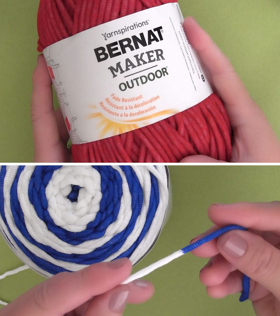 Bernat Maker Outdoor Yarn in Colors Beach Red, White, and Royal Blue