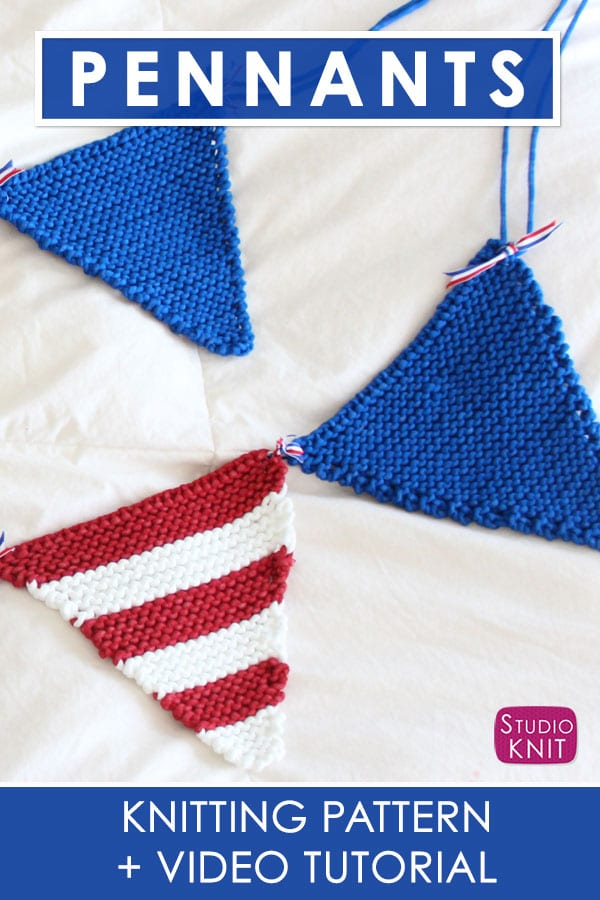 Pennant Banner Garland Bunting Knitting Pattern and Video Tutorial by Studio Knit