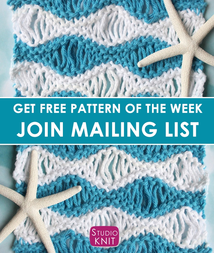 Sea Foam Wave Drop Knit Stitch Pattern with Video Tutorial by Studio Knit.