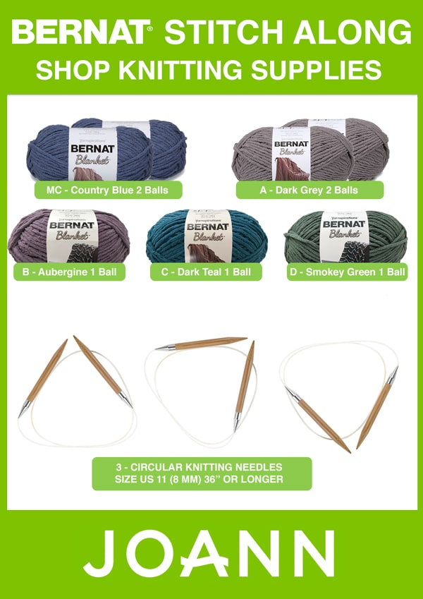 Shop Knitting Supplies for Bernat Blanket Yarn at JOANN for the Bernat Stitch Along for Knitters with Studio Knit