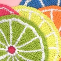 How to Knit Fruit Dishcloth Citrus Slice Pattern