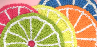 Learn How to Knit Fruit Citrus Slices with Easy Free Pattern + Knitting Video Tutorial with Studio Knit.