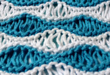 Sea Foam Wave Drop Knit Stitch Pattern with Easy Free Pattern + Knitting Video Tutorial by Studio Knit.