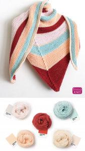 Caron X Pantone Asymmetrical Knit Shawl by Studio Knit