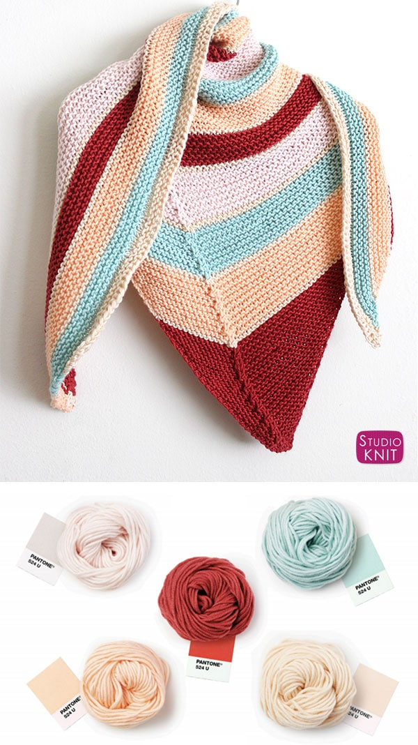 Caron x Pantone Asymmetrical Knit Shawl by Studio Knit