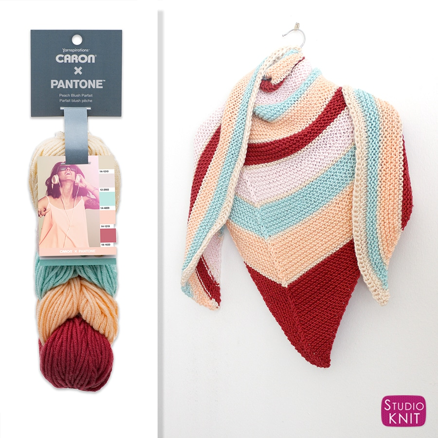 Caron x Pantone Asymmetrical Knit Shawl with Studio Knit