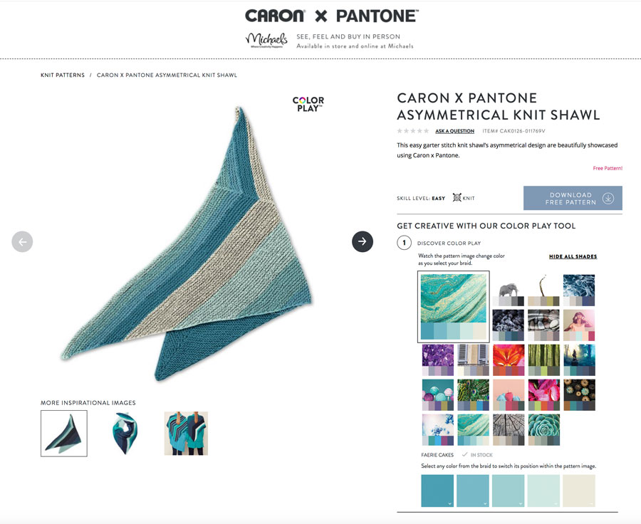 Caron x Pantone Color Play Tool for Asymmetrical Knit Shawl with Studio Knit