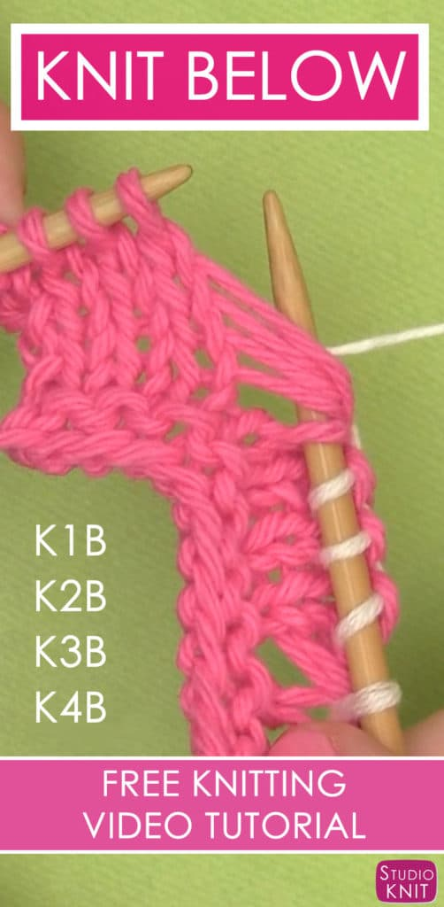 How to Knit Below with this simple Knitting Technique by Studio Knit. Learn how to K1B K2B K3B K4B
