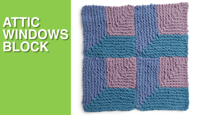 Attic Windows Block from the Bernat Stitch Along for Knitters with Studio Knit