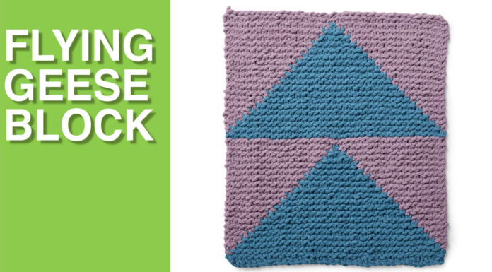 Flying Geese Block from the Bernat Stitch Along for Knitters with Studio Knit