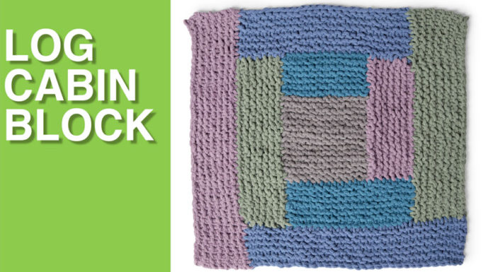 Log Cabin Block from the Bernat Stitch Along for Knitters with Studio Knit