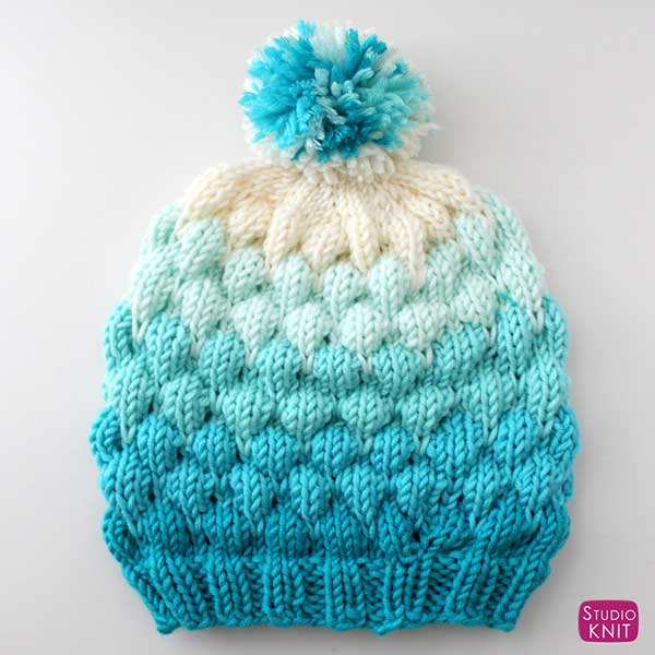 f852bb0a10e Knit a Bubble Beanie Hat by Studio Knit with Free Pattern and Caron x  Pantone yarn