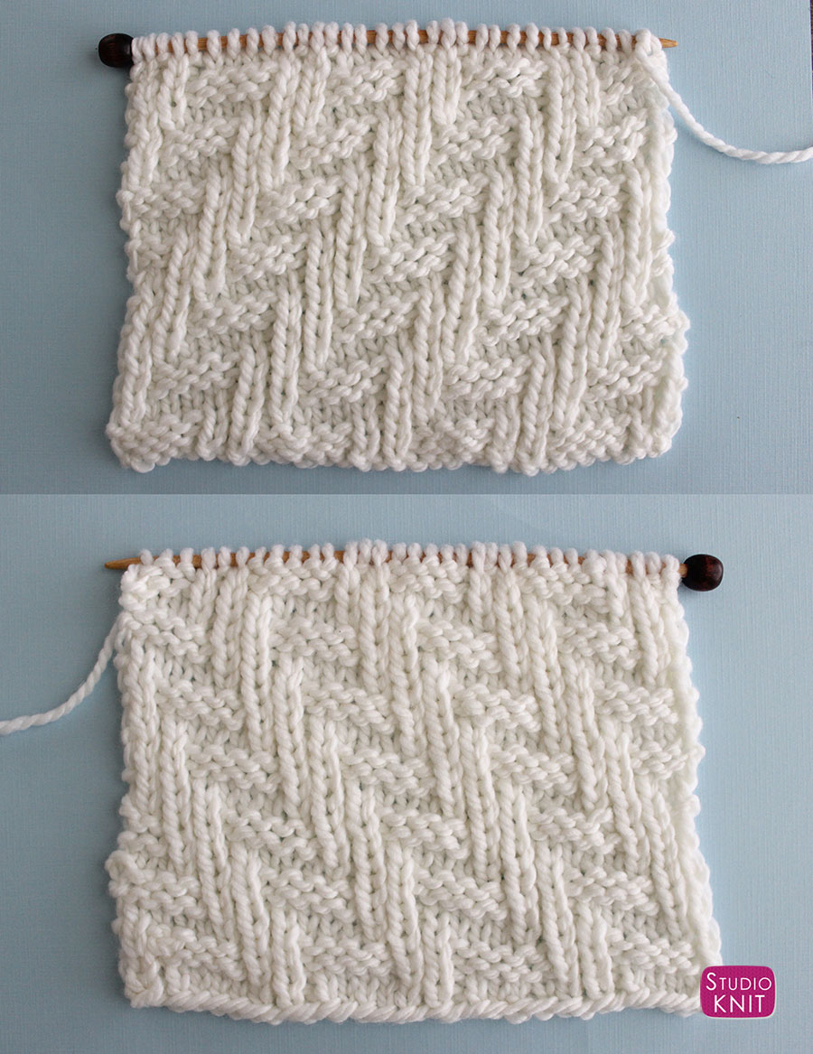 Right and Wrong Sides of the Chevron Zigzag Knit Stitch Pattern by Studio Knit with Free Pattern and Video Tutorial