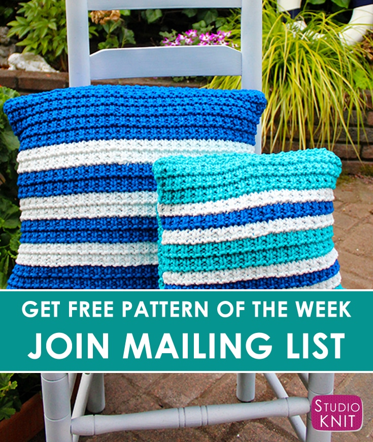 Free Pattern of the Week - Knit a Striped Pillow in Hurdle Stitch Pattern by Studio Knit