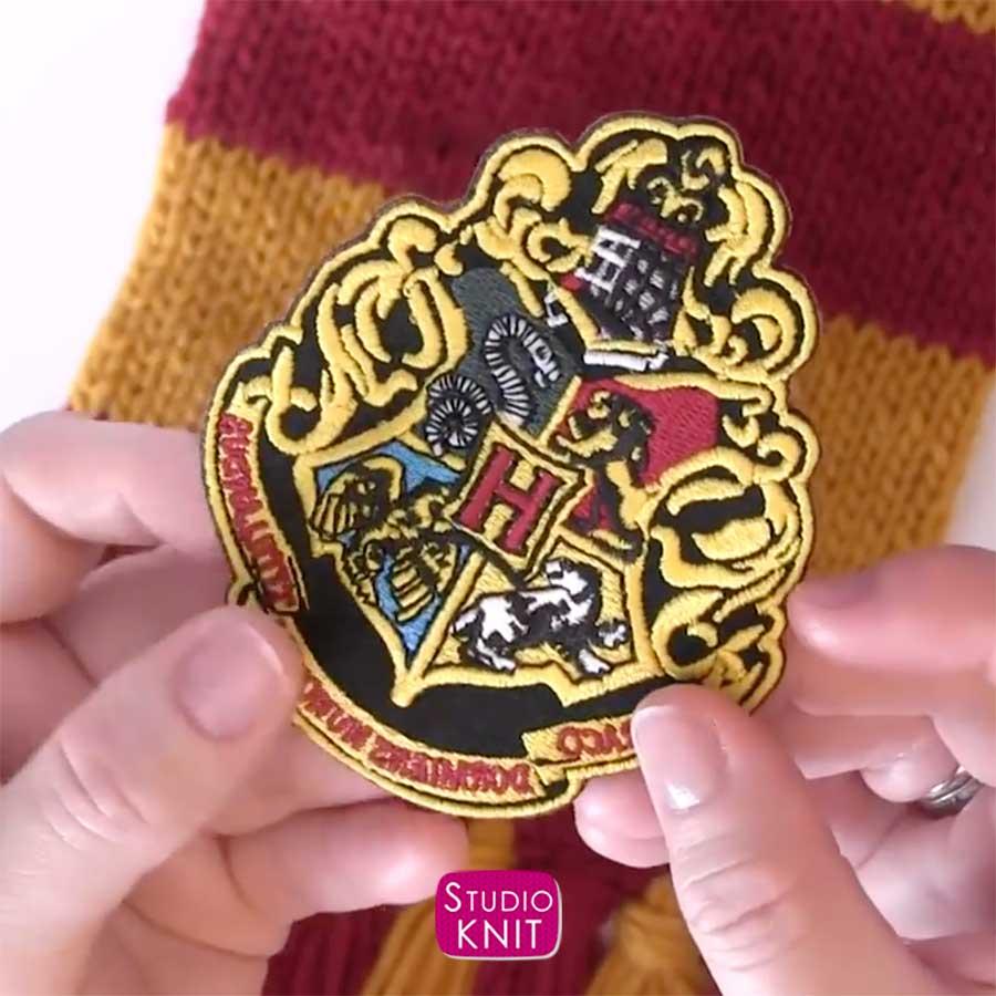 Harry Potter Scarf Knitting Pattern Gryffindor Patch