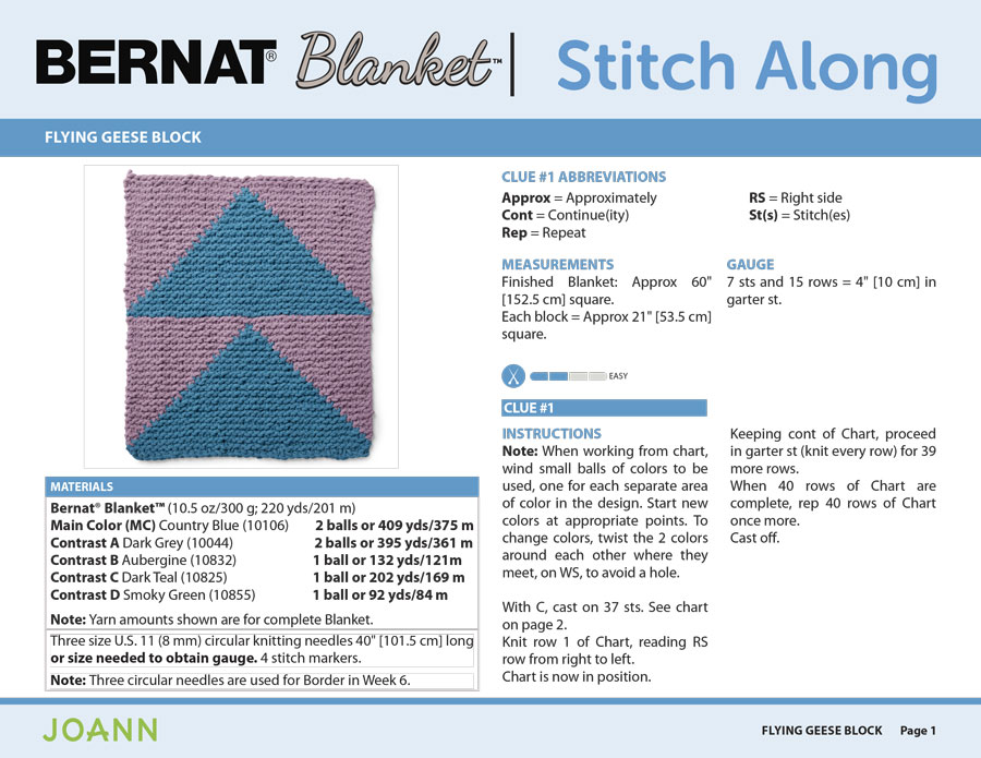 Knitting Pattern for the Flying Geese Block in the Bernat Stitch Along by JOANN with Studio Knit