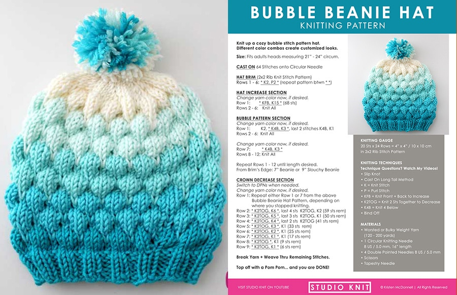 Bubble Beanie Hat Knitting Pattern With Video Tutorial Studio Knit
