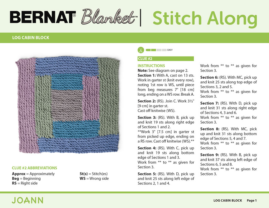 Knitting Pattern for the Log Cabin Block in the Bernat Stitch Along by JOANN with Studio Knit