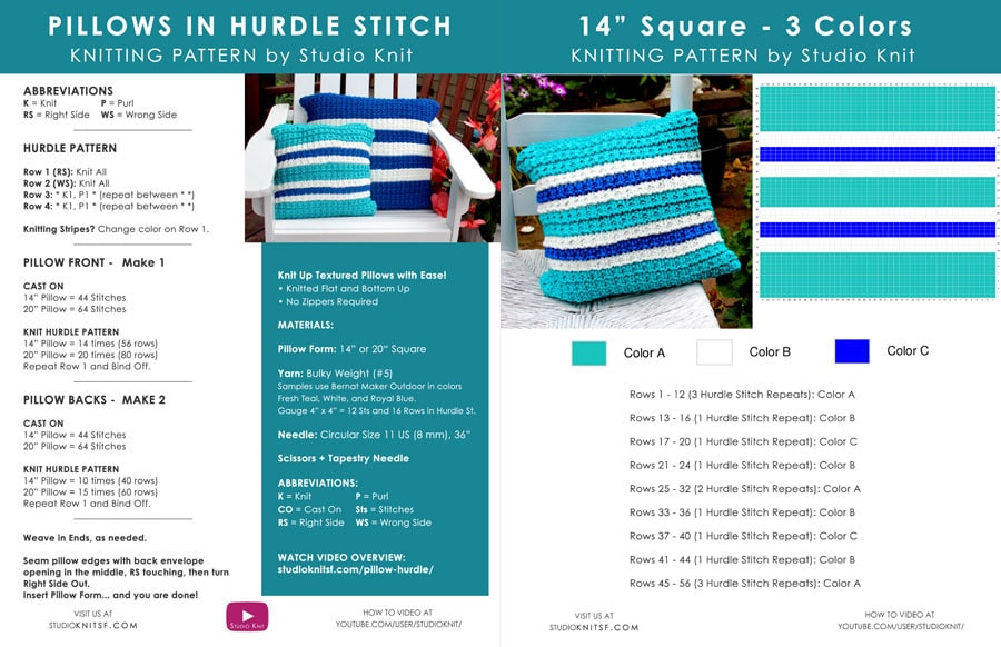 Free Written Knitting Pattern to Knit a Pillow in Hurdle Stitch by Studio Knit