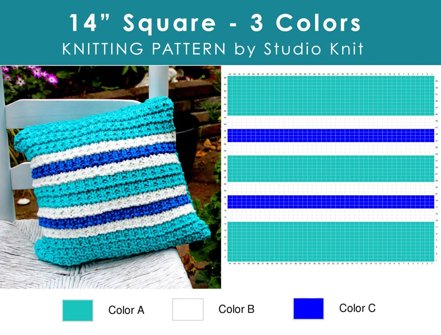 "Chart of Hurdle Knit Stitch Pattern Pillow 14"" Square Pillow with 3 Colors by Studio Knit"