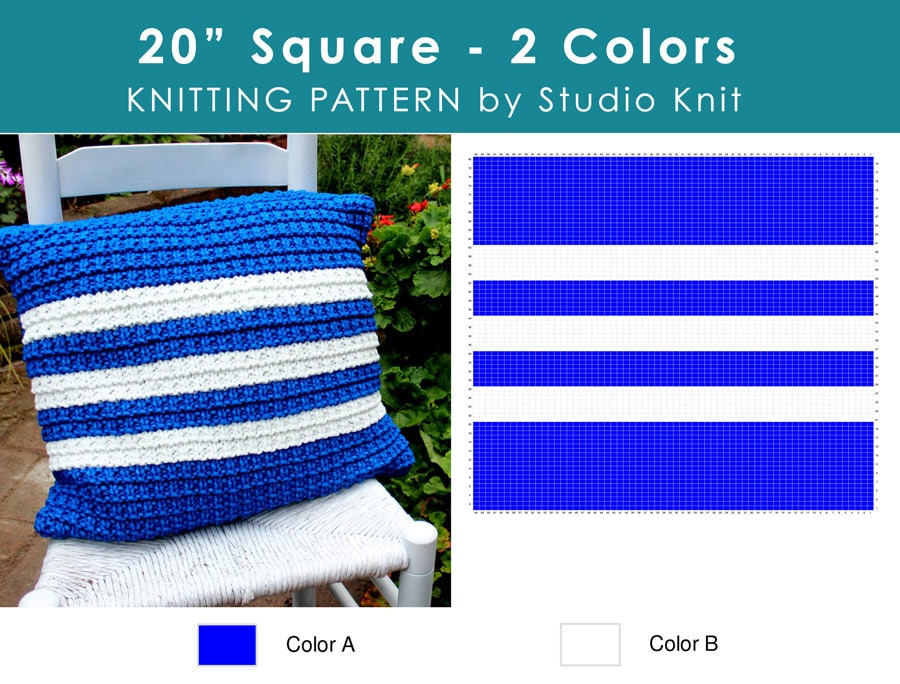 "Chart of Hurdle Knit Stitch Pattern Pillow 20"" Square Pillow with 2 Colors by Studio Knit"