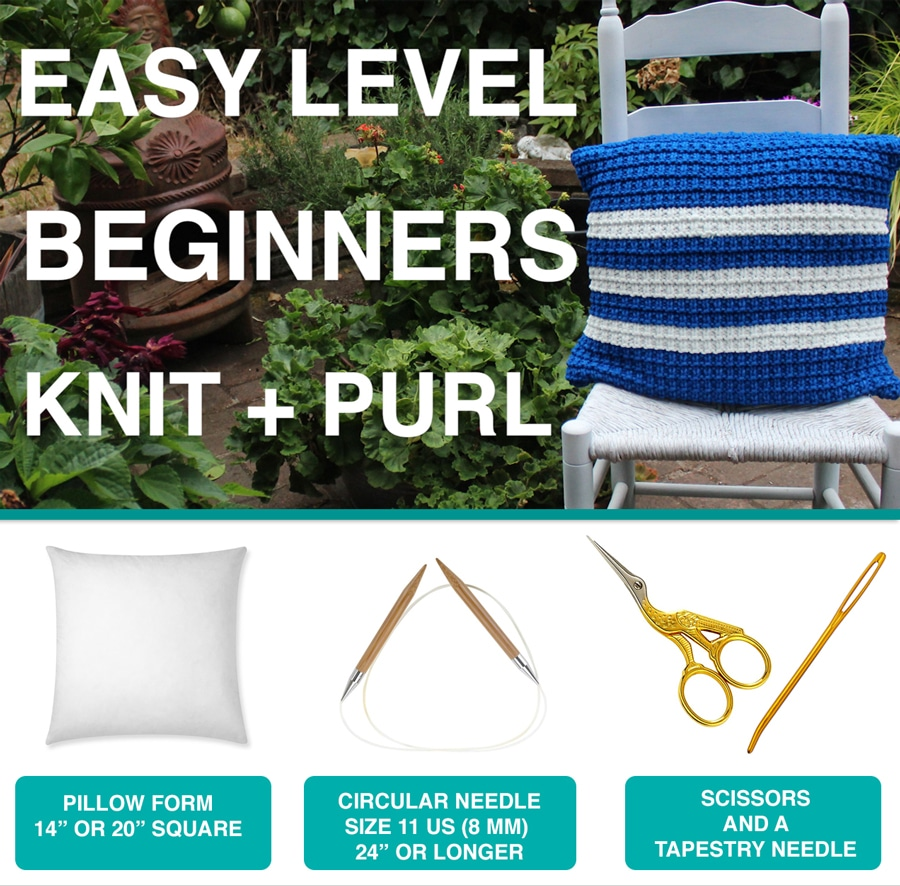 Materials to Knit a Pillow in Hurdle Stitch Pattern