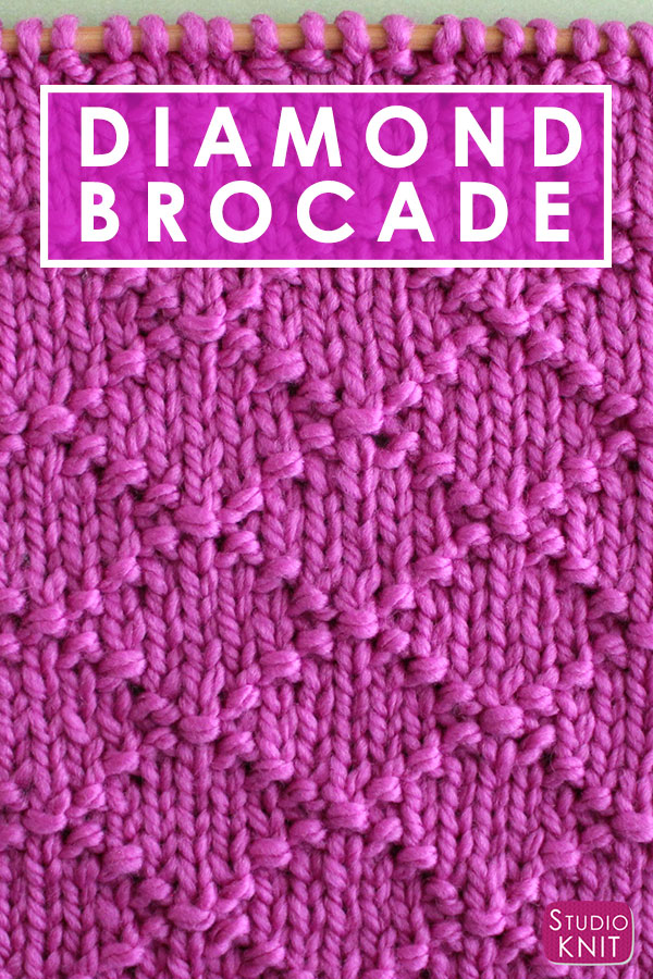 Diamond Brocade Knit Stitch Pattern by Studio Knit with Free Pattern and Video Tutorial