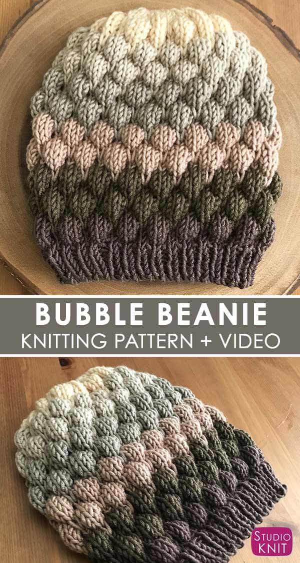 Slouchy Bubble Beanie Beret Knit Hat free pattern by Studio Knit.