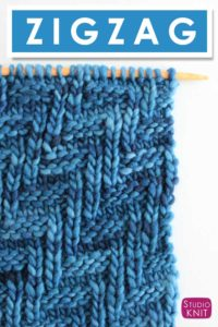 Chevron Zigzag Knit Stitch Pattern by Studio Knit with Free Pattern and Video Tutorial