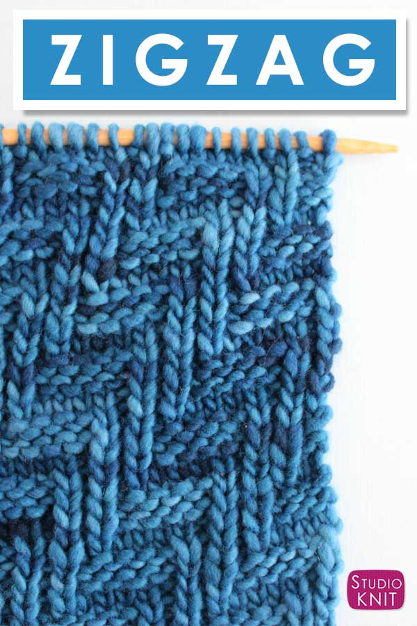 Chevron Zigzag Knit Stitch Pattern by Studio Knit with Free Pattern and Video Tutorial