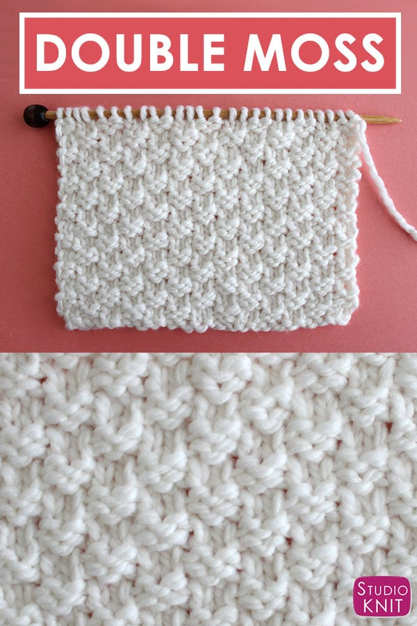 Double Moss Knit Stitch Pattern Written Instructions with Video Tutorial by Studio Knit