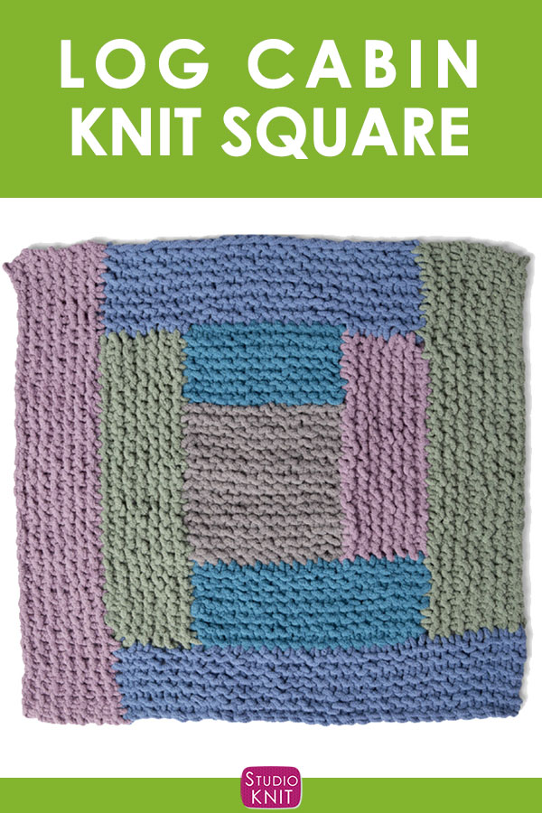 Log Cabin Knit Square, a graphic, geometrical triangle design. Get free knitting pattern and watch video tutorial by Studio Knit