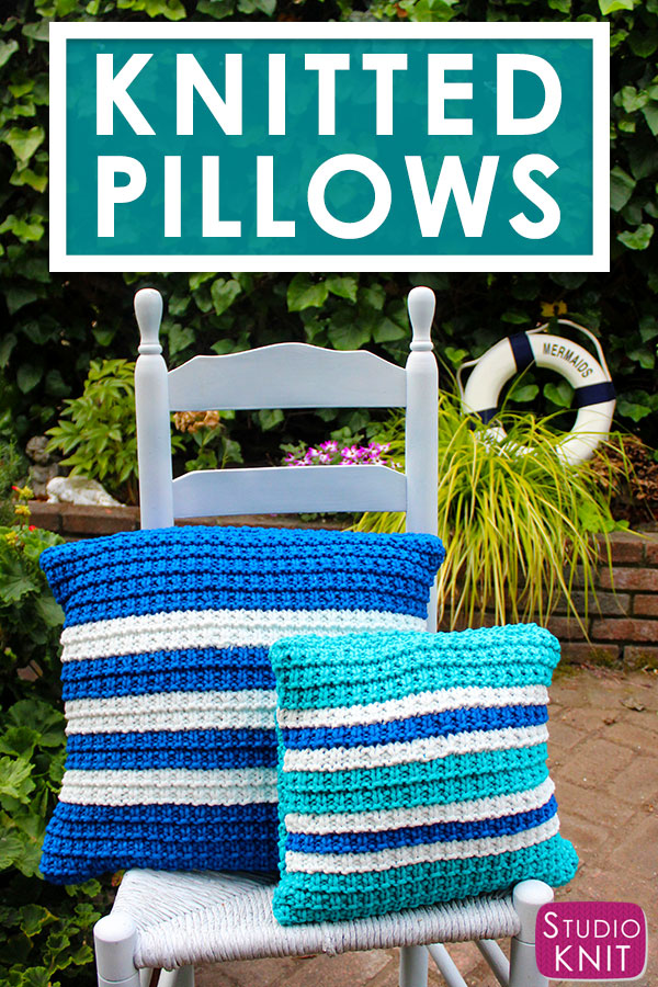 Knit a Striped Pillow in Hurdle Stitch Pattern by Studio Knit