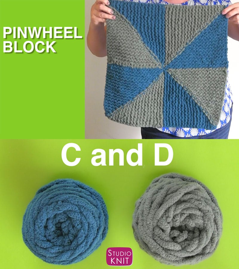 My finished object! Pinwheel Block from the Bernat Stitch Along for Knitters with Studio Knit