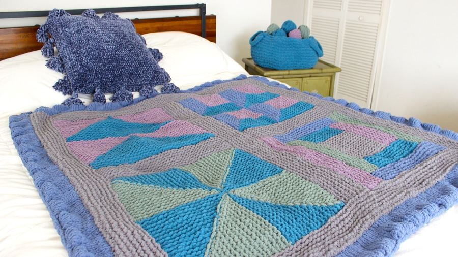 Learn how to knit a blanket, pillow, and basket in the Bernat Stitch Along with Free knitting patterns and video tutorials by Studio Knit
