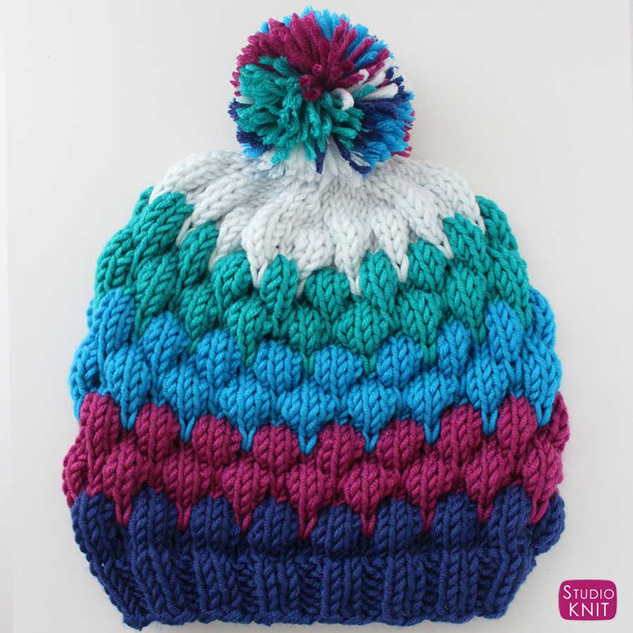 Bubble Beanie Hat Knitting Pattern with Video Tutorial | Studio Knit