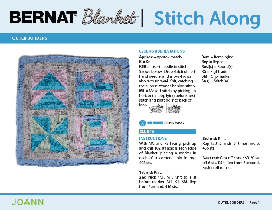Knitting Pattern for Outer Blanket Borders in the Bernat Stitch Along by JOANN with Studio Knit