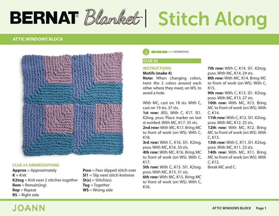 Knitting Pattern for Attic Windows Block in the Bernat Stitch Along by JOANN with Studio Knit