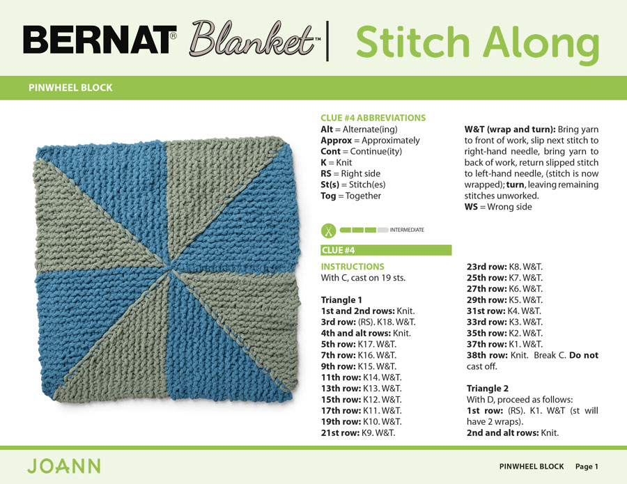 Knitting Pattern for the Pinwheel Block in the Bernat Stitch Along by JOANN with Studio Knit
