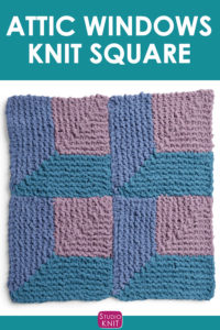 Attic Windows Knit Square, a a mitered square. Get free knitting pattern and watch video tutorial by Studio Knit