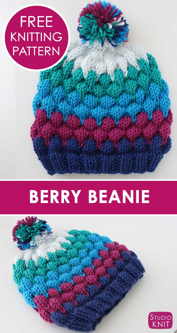 Learn how to Knit a Berry Bubble Beanie Hat with free knitting pattern and  video tutorial 41919aa2d3e