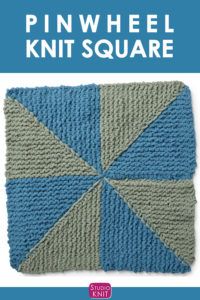 Pinwheel Knit Square. Get free knitting pattern and watch video tutorial by Studio Knit