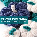 So soft! Knit up soft velvet mini pumpkins flat on straight needles. Free knitting pattern for beginners by Studio Knit