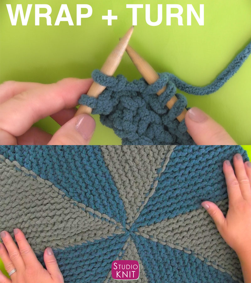 Learn Wrap and Turn Technique for the Pinwheel Square with Studio Knit in the Bernat Stitch Along.