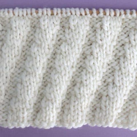Diagonal Spiral Rib Stitch Printable Knitting Pattern