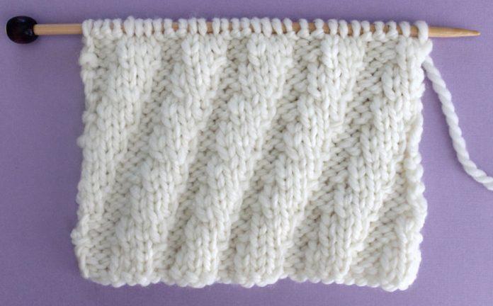 Diagonal Spiral Rib Stitch Knitting Pattern Studio Knit