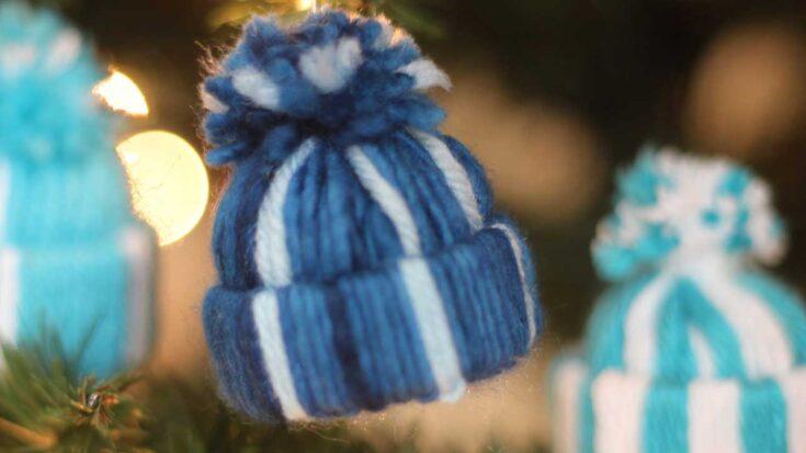 Yarn Hat Ornaments Christmas Craft