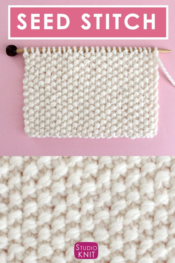 Seed Knit Stitch Pattern for Beginning Knitters with Video Tutorial by Studio Knit