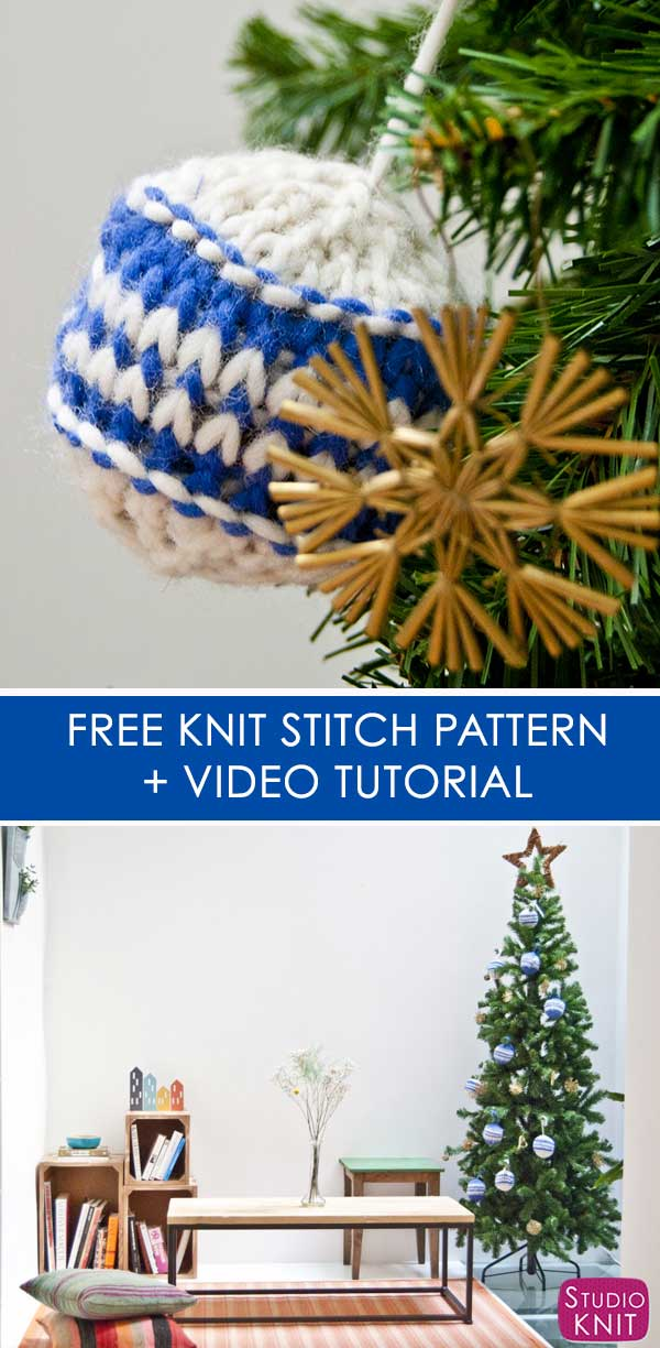 Knitted Christmas Ball Ornament Pattern with Studio Knit and Video Tutorial