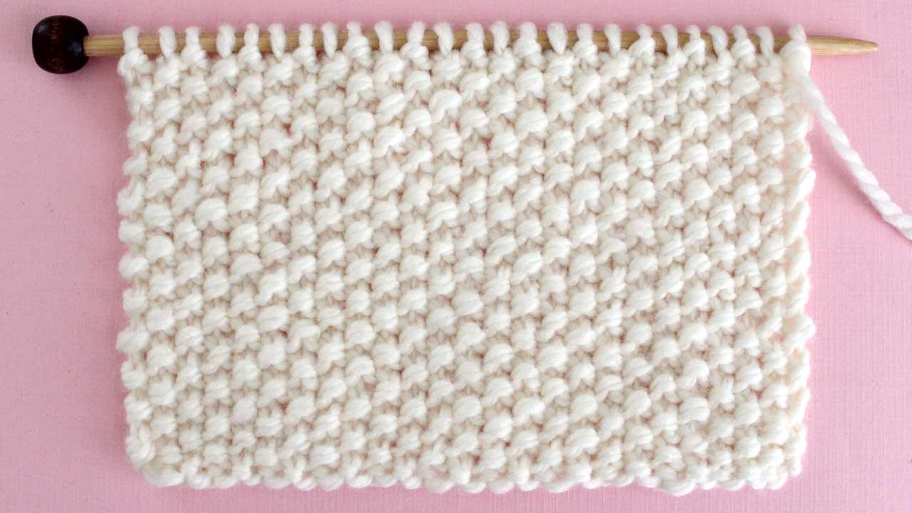 Seed Stitch Knitting Pattern Swatch